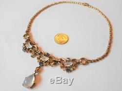 Vtg. Rare Alfred Philippe Designer Trifari Signed Moonstone Necklace Choker