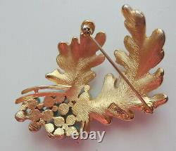 Vtg Signed Alfred Philippe Trifari Gold Tone Leaves Turquoise Flowers Pin Brooch