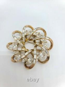 Vtg TRIFARI Crown Alfred Philippe Gold Tone Baguette Rhinestone Pin Brooch