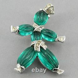 Vtg Trifari Alfred Philippe Green Poured Glass Pom-Pom & Tom-Tom Rag Doll Pins