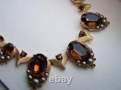 Vtg Trifari Alfred Philippe Topaz Rhinestones & Faux Gray Pearls Necklace L17