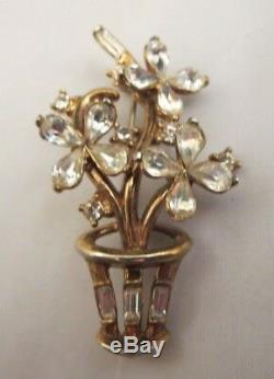 Vtg Trifari Pat Pend Signed 1951 Alfred Philippe Rhinestone Flower Pot Brooch