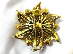 Vtg Unsigned TRIFARI Alfred Philippe Patent Gold-tone Rhinestone Fur Clip Brooch